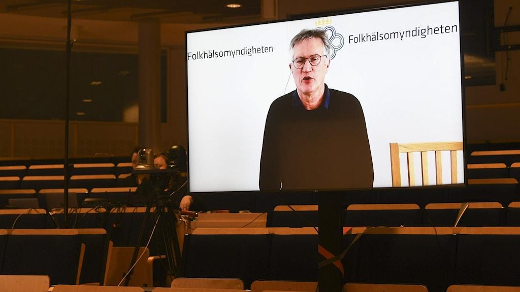 Storbildskärm på Anders Tegell