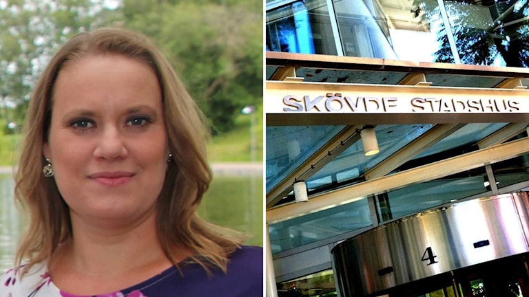 Dubbel bild, en med en kvinna och en med en skylt på Skövde stadshus.