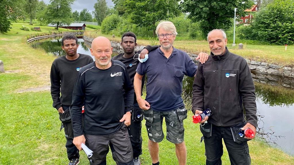 Från vänster: Mohammed, Thorbjörn Ingvarsson (från Karlsborgs kommun), Ali, Stefan Nordkvist och Abdullah.