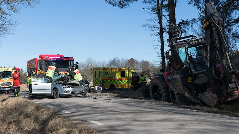 olycka traktorgrävare