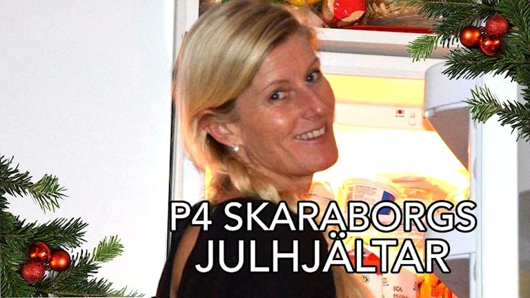 En bild på Ulrica Johansson som det står P4 Skaraborgs julhjältar på.