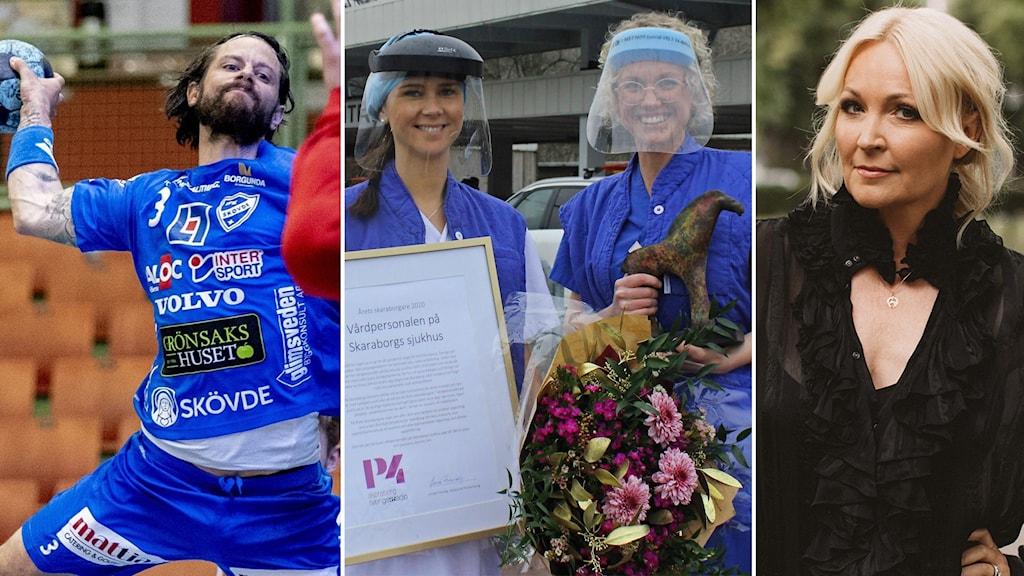 Tredelad bild med handbollsspelaren Rasmus Wremer, två sjuksköterskor som representerar Årets skaraborgare 2020 samt författaren Anki Edvinsson.