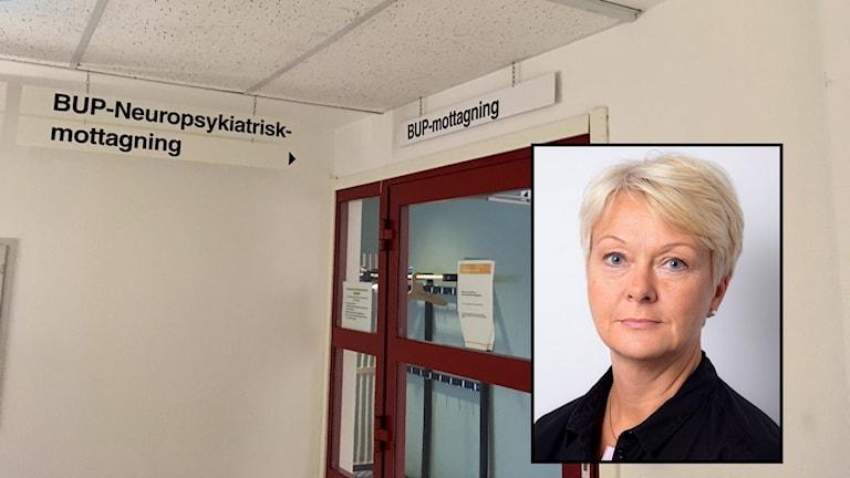 En röd dörr med skylten BUP-mottagning ovanför, infälld porträttbild på Annelie Sundén Gustavsson