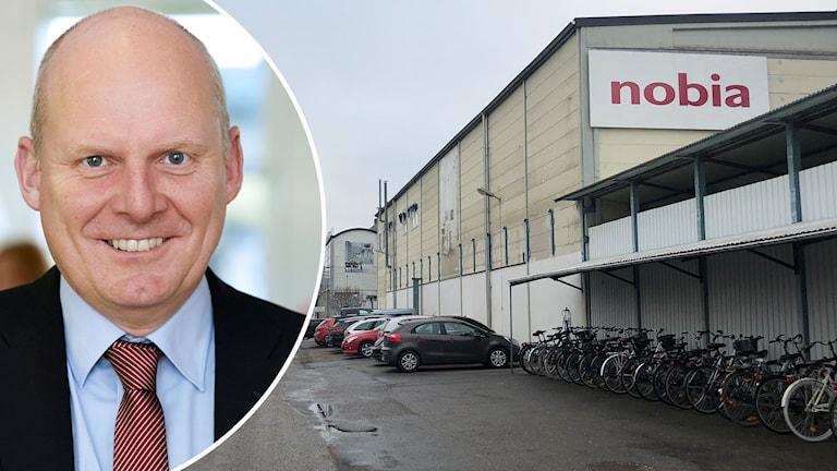 Fotomontage med en skallig man och en fabriksbyggnad med skylten Nobia.