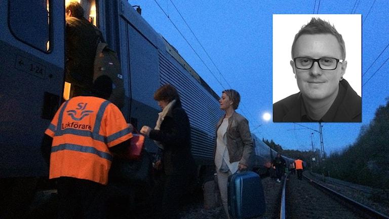 Bild från evakueringen av tåget med en inflikt bild av passageraren Christian Lennerholt.
