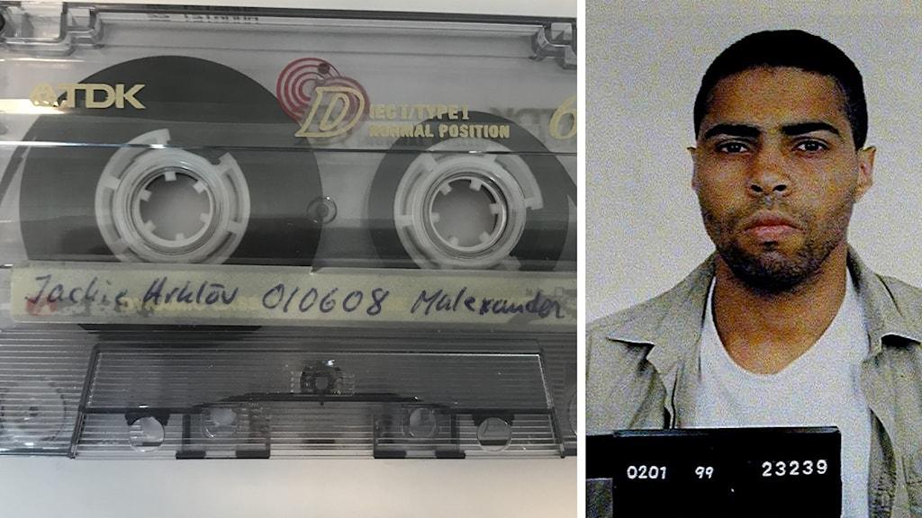 Ett kassettband från ett förhör och en polisbild på en man.