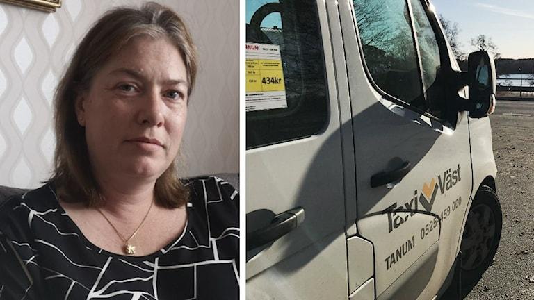 Margareta Blom har page, medellångt hår som är brunfärgat. Hon har ett allvar i blicken som suger sig fast i betraktaren. Till höger syns en sjukresebuss, den är vit.