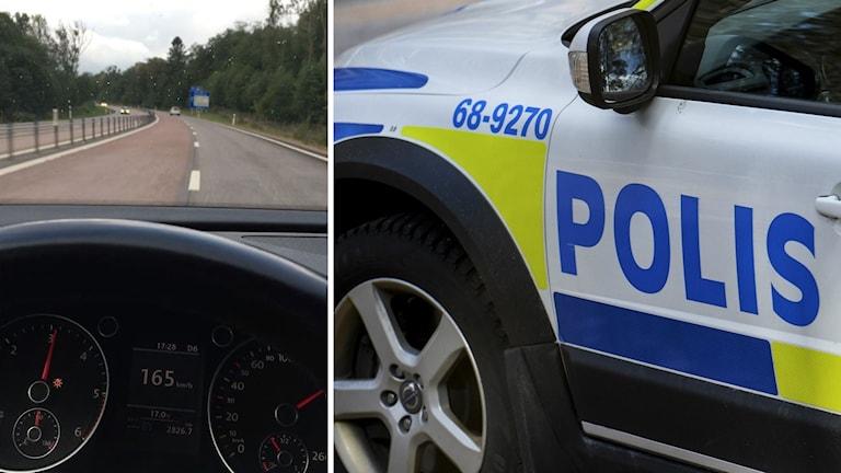 Kollage med stillbild ur polisfilm och en polisbil