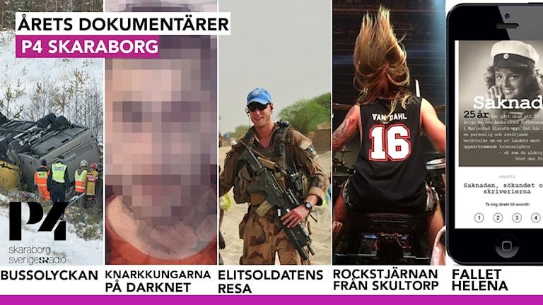 Kollage av dokumentärernas bilder