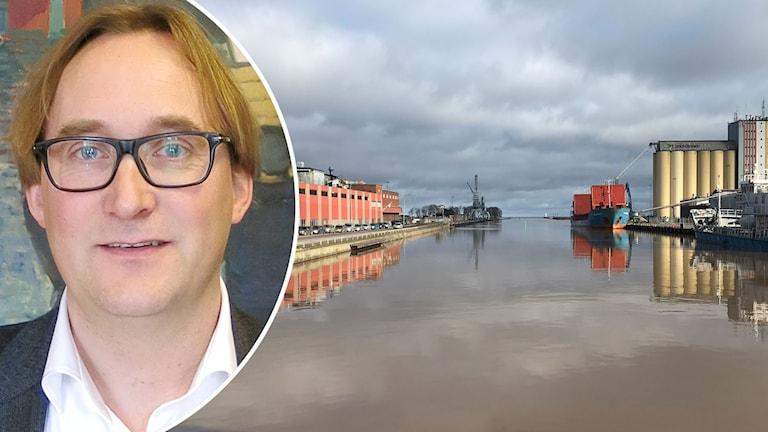 Montage med Johan Källsson och hamnen i Lidköping.