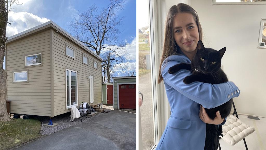 Tvådelad bild: Ett så kallat tiny house, ett litet hus, och en ung kvinna som står med en katt i famnen.