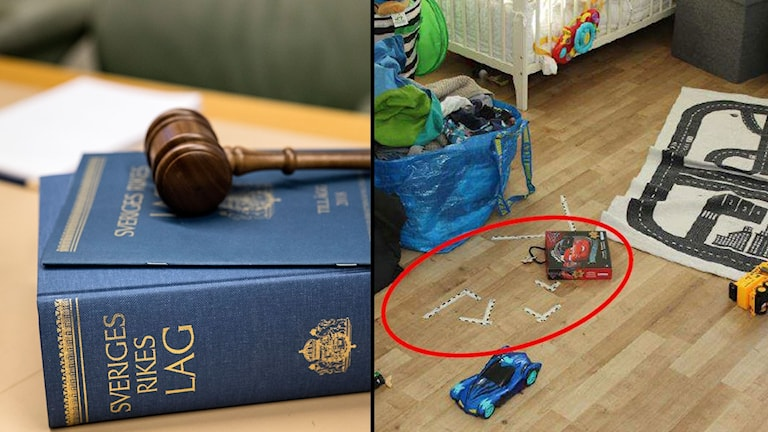 Bildmontage med Sveriges lagbok och golvet i ett barnrum.