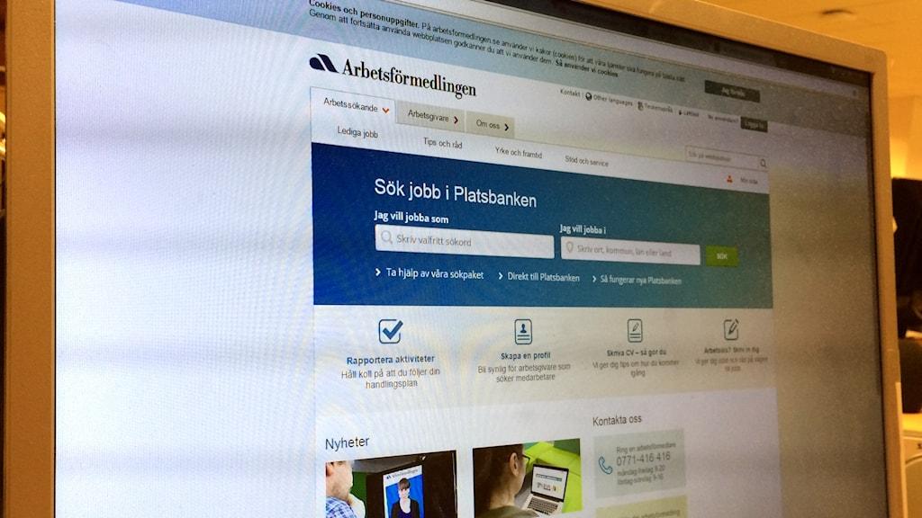 Arbetsförmedlingens hemsida.