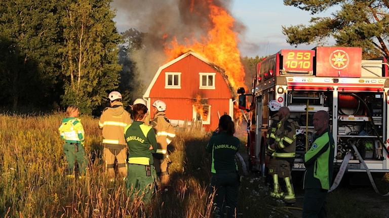 Övertänd villa i Falköpings kommun.