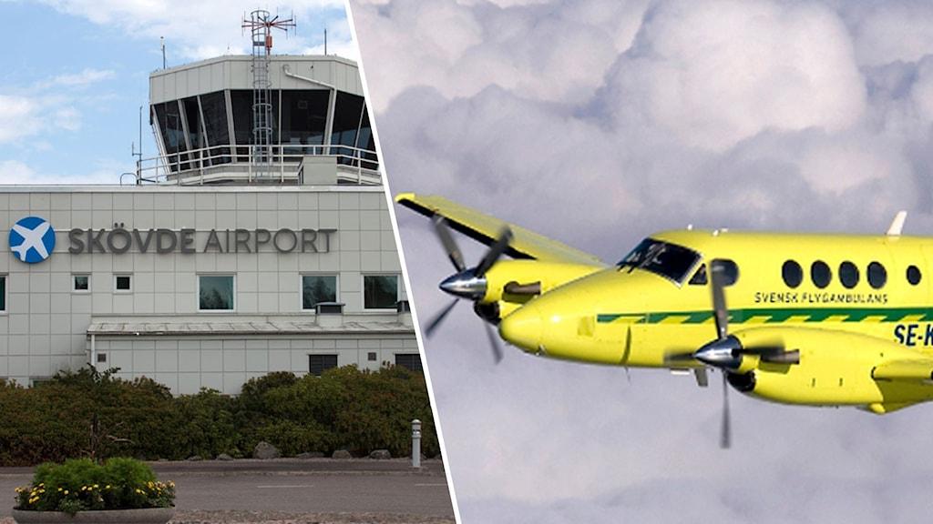 Tvådelad bild: Skövde flygplats och ett ambulansflygplan i luften.
