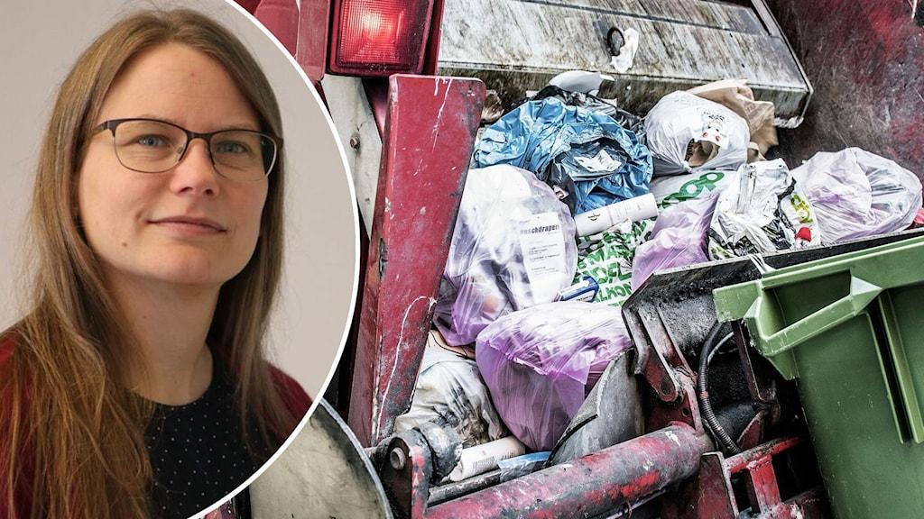 Till vänster syns avfallsingenjör Jessica Rytter. Till höger en grön soptunna som töms i en välfylld sopbil.