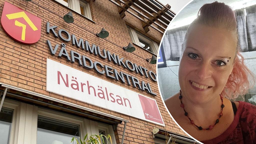 Montage med Ellen Hagerö och Tibro kommunhus.