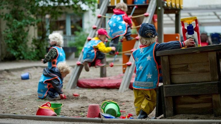 Barn i blåa västar lekar på en lekpark.