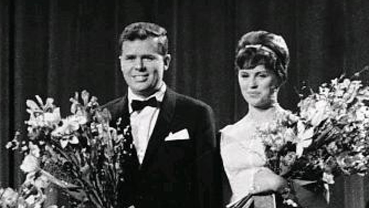 Grethe och Jörgen Ingmann vinner Melodi Grand Prix 1963. Foto: Polfoto/Jacob Maarbjerg via Creative Commons.