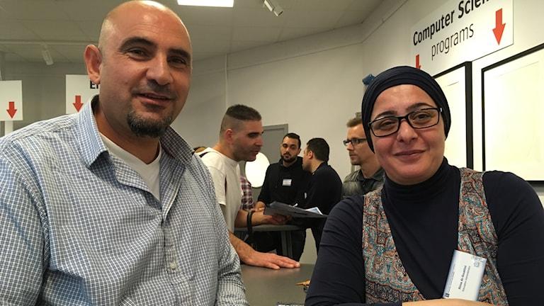 Maher Bahssas och Rima Al-Shoukhni, utbildningsadministratör LTU