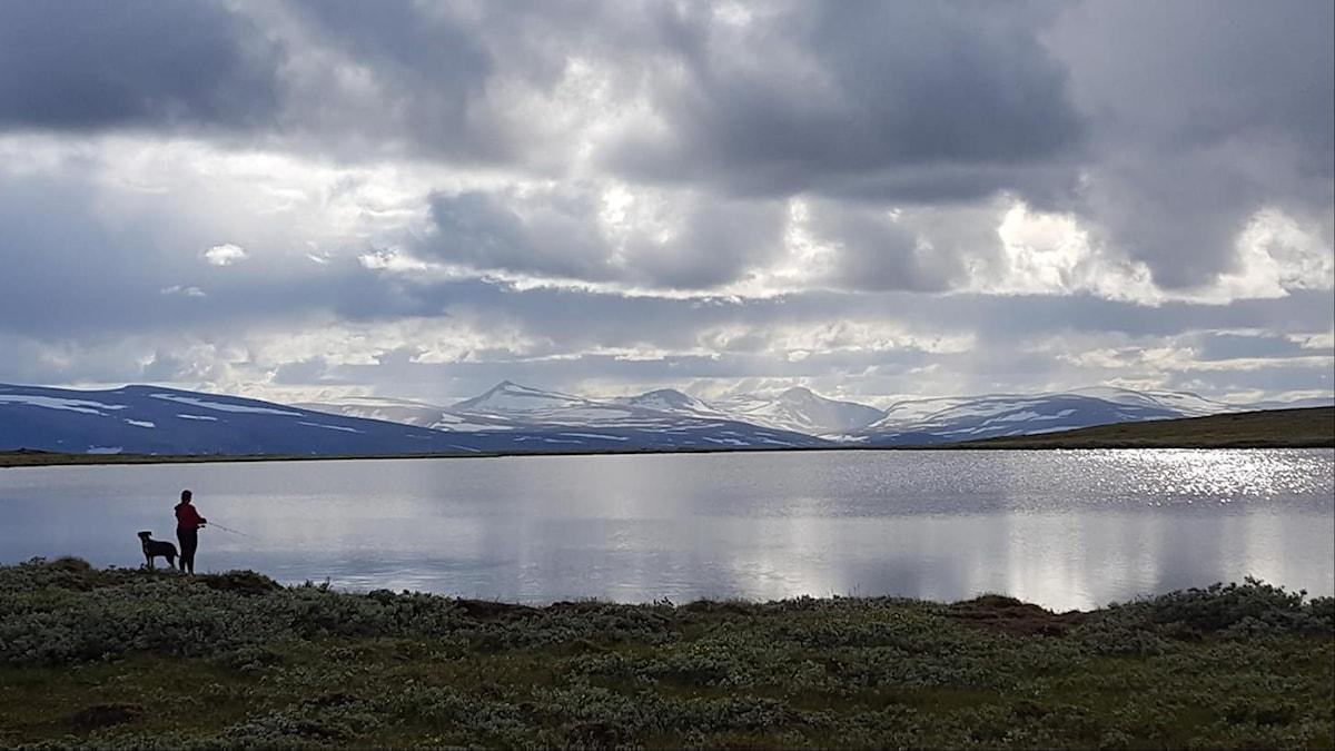 Siluetter av en person med fiskespö och en hund framför en glittrande sjö. I bakgrunden snötäckta fjäll och ljusa moln.