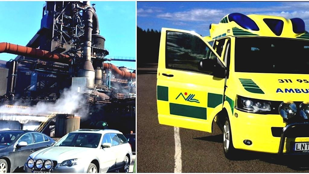 SSAB och en ambulans.