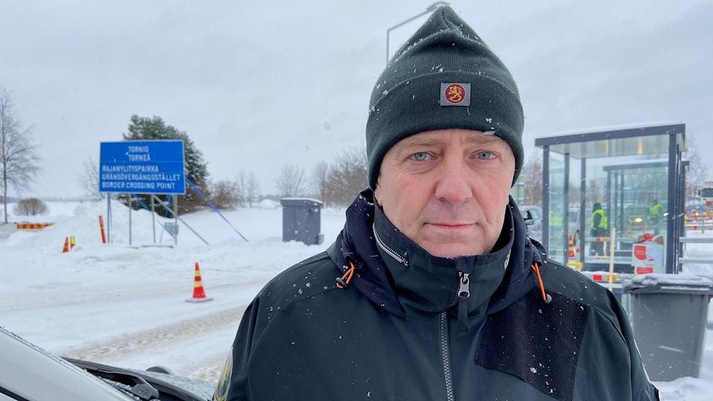 Vaktofficer Jari Rantala vid den finska gränsbevakningen i Torneå-Haparanda