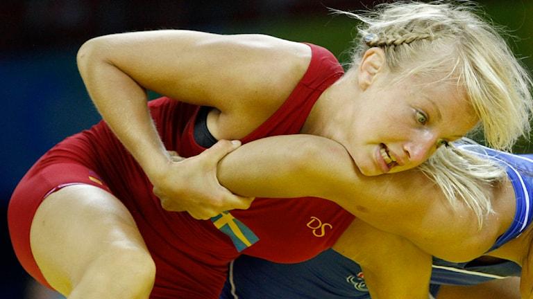 Brottaren Sofia Mattsson under OS i Peking 2008. Foto: AP Photo/Ed Wray/Scanpix.