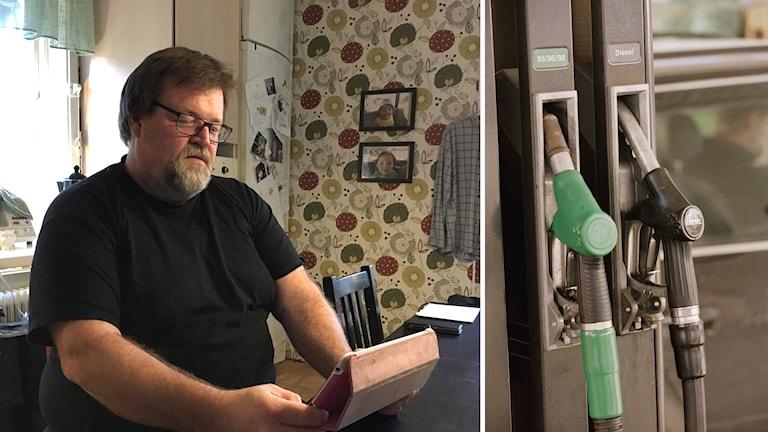 Fredrik Svensson sitter framför datorn i sitt hem i Sikfors och bensinpumpar.