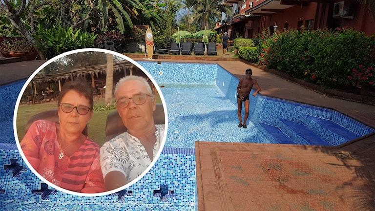 Lennart Ekman står i en pool som är tömd på vatten på hotellområdet. På en mindre del av bilden ser man Rose-Marie och Lennart som tar en selfie i solen.