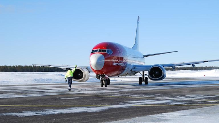 Flygplan som landat i Luleå. Foto: Luleå airport.