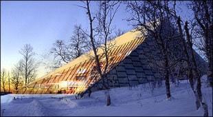 Illustration av Badjáneapmi (uppvaknande på nordsamiska) har ritats av Hans Murman och Helena Andersson vid Stockholmsfirman Murman arkitekter AB. Förslaget blev vinnare i en arkitekttävling för Sametingets nya byggnad i Kiruna. Foto: Murman Arkitekter AB.