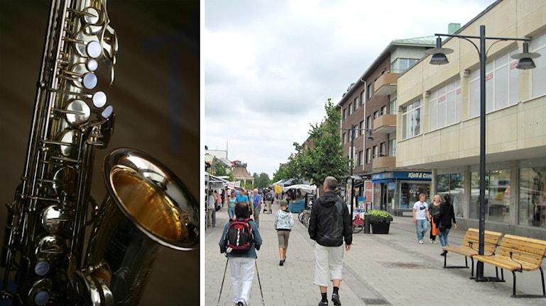 Bild på Saxofon och Storgatan i Luleå.