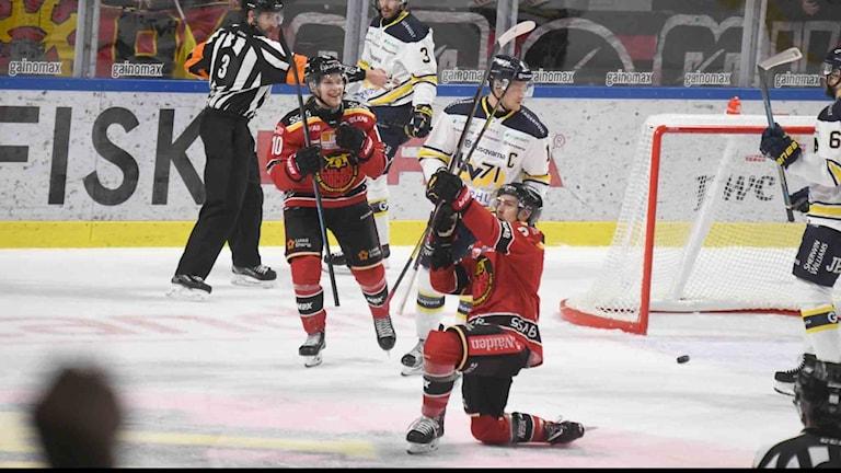 Luleå Hockey jublar efter mål mot HV 71