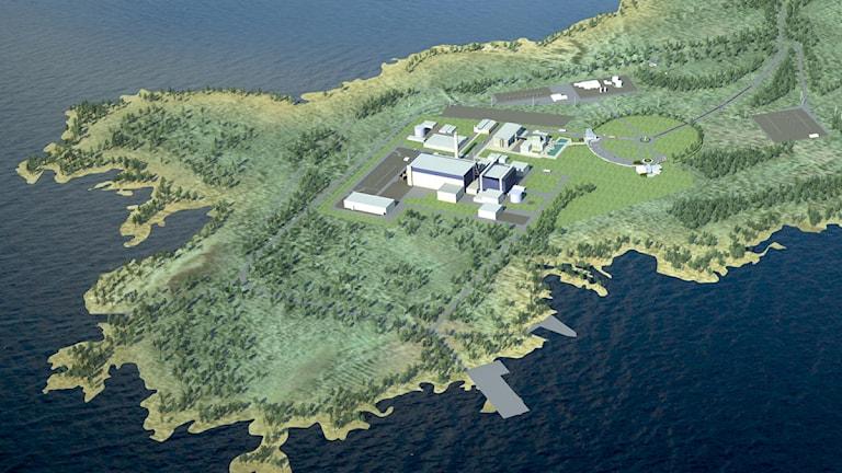 Fennovoimas montage över kärnkraftverk i Pyhäjoki.
