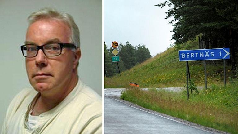 Lennart Dehlin på Lantmäteriet och gamla vägskylten vid E4 med ortsnamnet Bertnäs.
