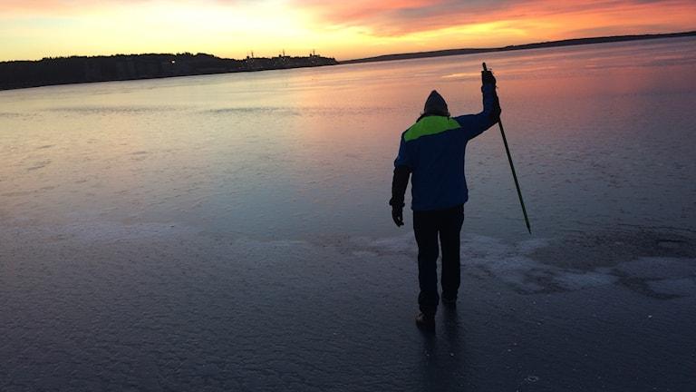 Lennart Fransson känner av isen i Södra hamn i Luleå med en ispik.