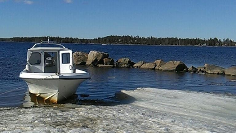Håkan Karlsson i Luleå har tagit veckans bild när han gjorde första båtturen till stugan medan isen låg kvar.