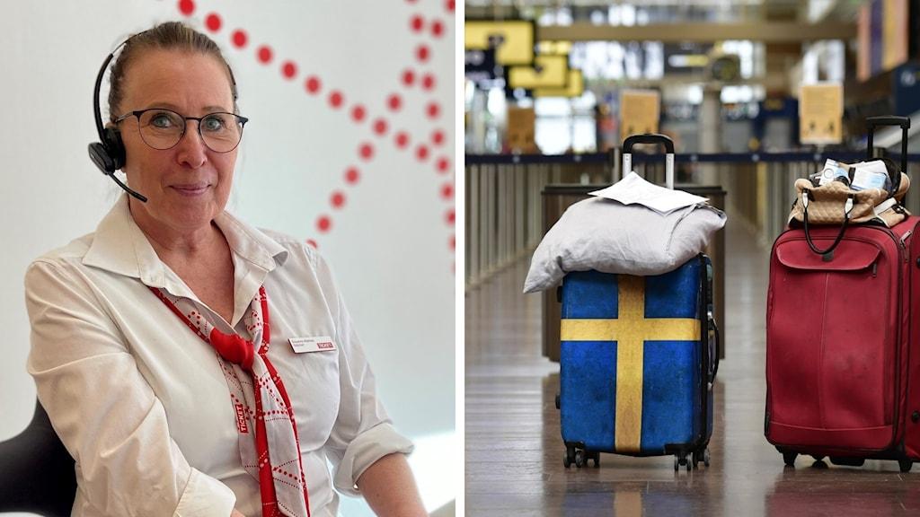 susanne alamaa ticket resebyrå i luleå samt en bild på en resväska med gul och blå sverige-flagga