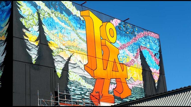 Graffiti av Karl Nordström på Uddeboverket i Luleå. Foto: Alf Lindbergh/Pressbilder.