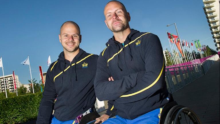 Rullstolstennisspelarna Stefan Olsson och Peter Wikström i Paralympics i London. Foto: Jonas Ekströmer/Scanpix.