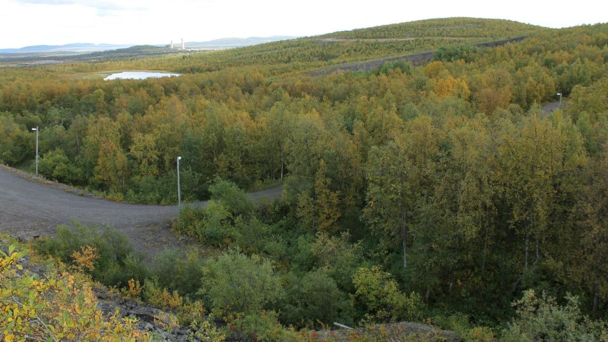 Här ska nya E10 i Kiruna dras fram. Längst bort syns lavarna i Tuolluvaara. I förgrunden syns en del av Matojärvis spårsystem. Foto: Alexander Linder/ Sveriges Radio.