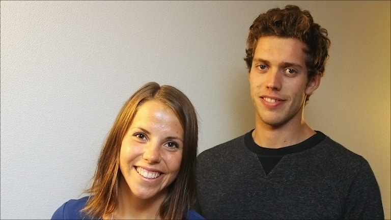 Charlotte Kalla och Marcus Hellner. Foto Stig-Arne Nordström/Sveriges Radio.
