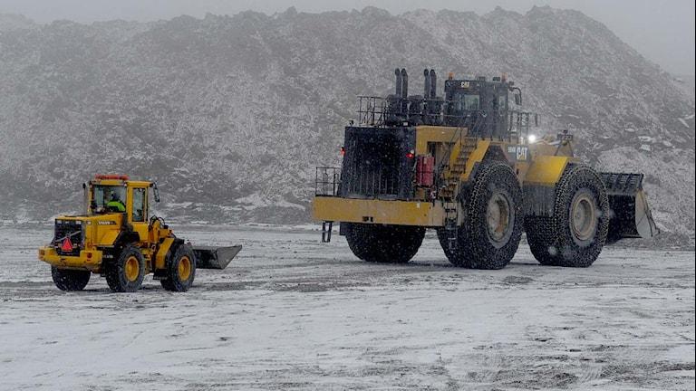 Arbetsfordon på gruvområdet i Kaunisvaara. Foto: Alf Lindbergh/Pressbilder.