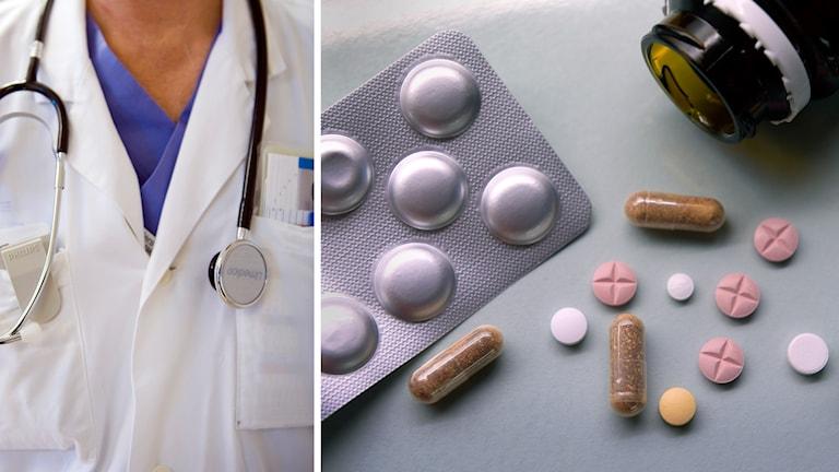 En närbild på en läkare i arbetskläder och en bild på tabletter. Arkivbilder.