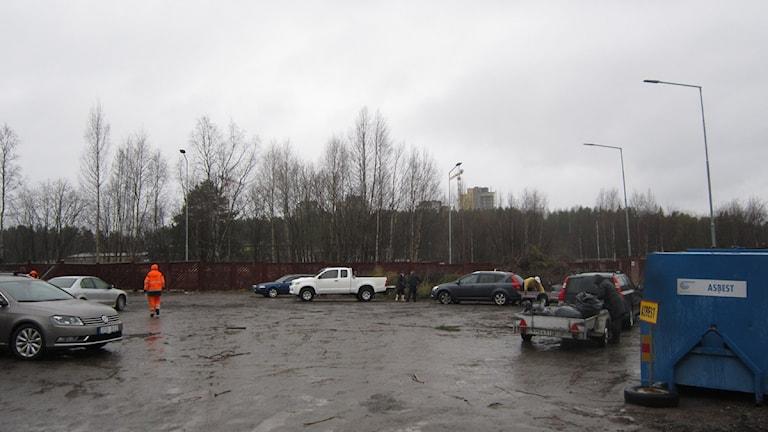 Bild på avdelningen för trädgårdsavfall på Kronan Återvinningscentral i Luleå. Foto: Malin Winberg, Sveriges Radio Norrbotten