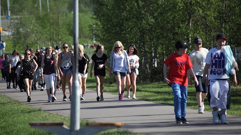 Hela Raketskolan i Kiruna deltog i Radioaktiv! Foto: Nils Aspehult.
