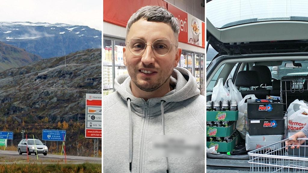en man med glasögon och en grå hoodie i mitten, till vänster riksgränsen skyltning, till höger en babagelucka är öppen och det är varor som dryckessorter, i en bil