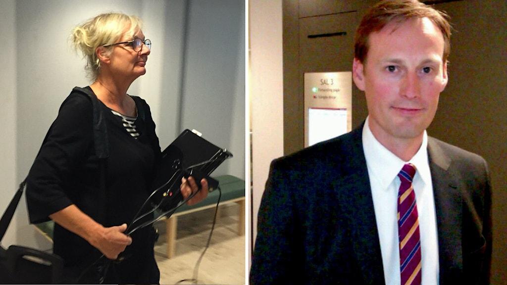 Åklagare Åse Schoultz och advokat Jonas Westerlund