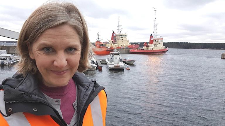 Miljöminister Karolina Skog i Luleå hamn